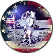 USA APOLLO-11 MOON LANDING FIRST WALK ON THE MOON American Silver Eagle 2019 Walking Liberty $1 Silver coin Ruthenium plated 1 oz